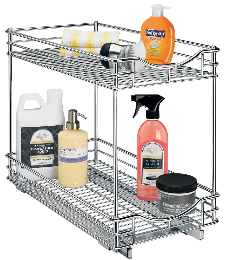 two tier sliding cabinet organizer 11 inch in pull out baskets