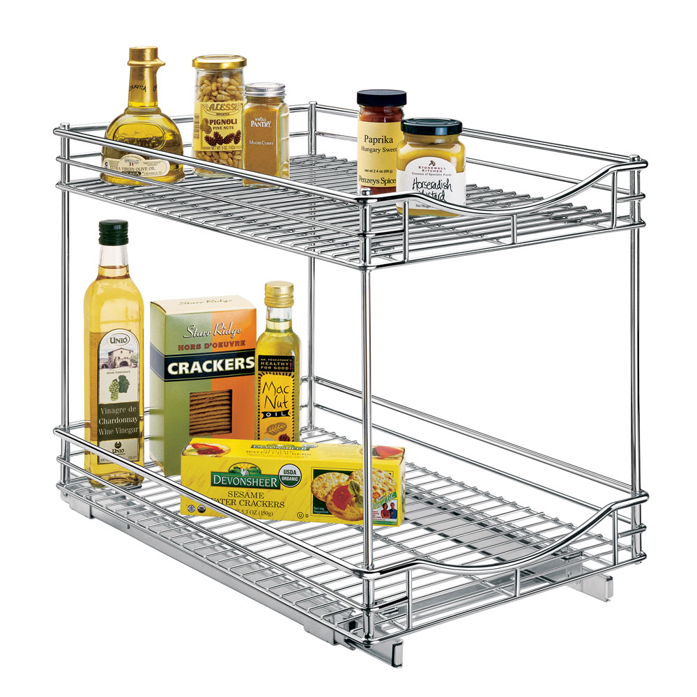 ... Two Tier Sliding Cabinet Organizer   14 Inch, Deep Pull Out ...