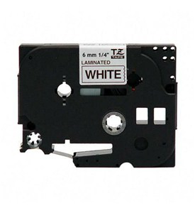 0.25 Inch P-Touch TZ Tape - Black on White Image