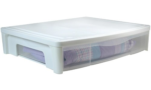 Plastic Under Bed Storage Drawer - White Image
