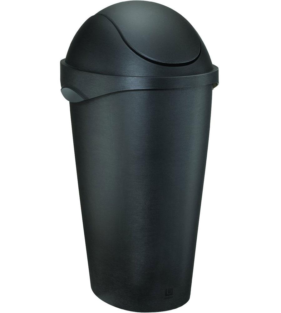 umbra swing top trash can black in kitchen trash cans. Black Bedroom Furniture Sets. Home Design Ideas