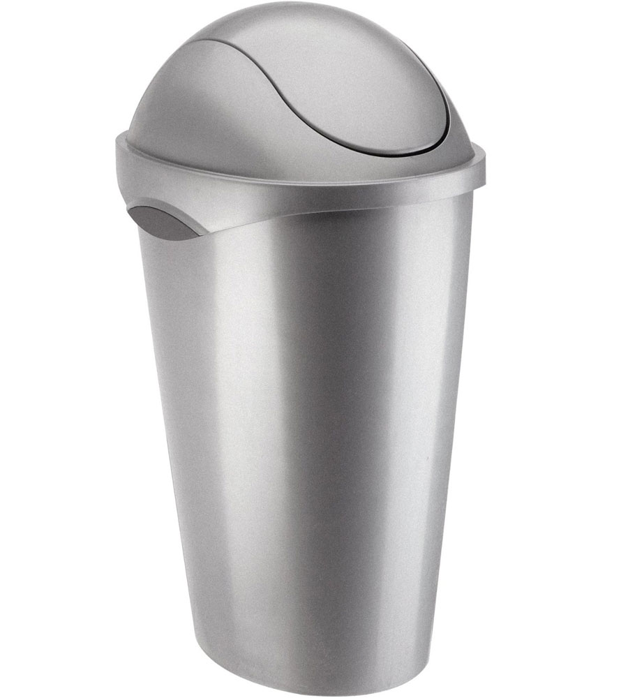 Umbra Swing Top Trash Can   Nickel Price: $23.99