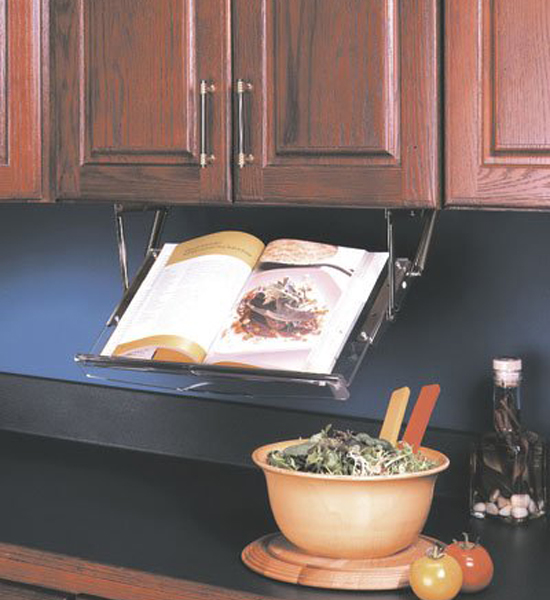 Under Cabinet Drop Down Shelf Hardware: Under Cabinet Cookbook Holder In Cookbook Holders And Stands
