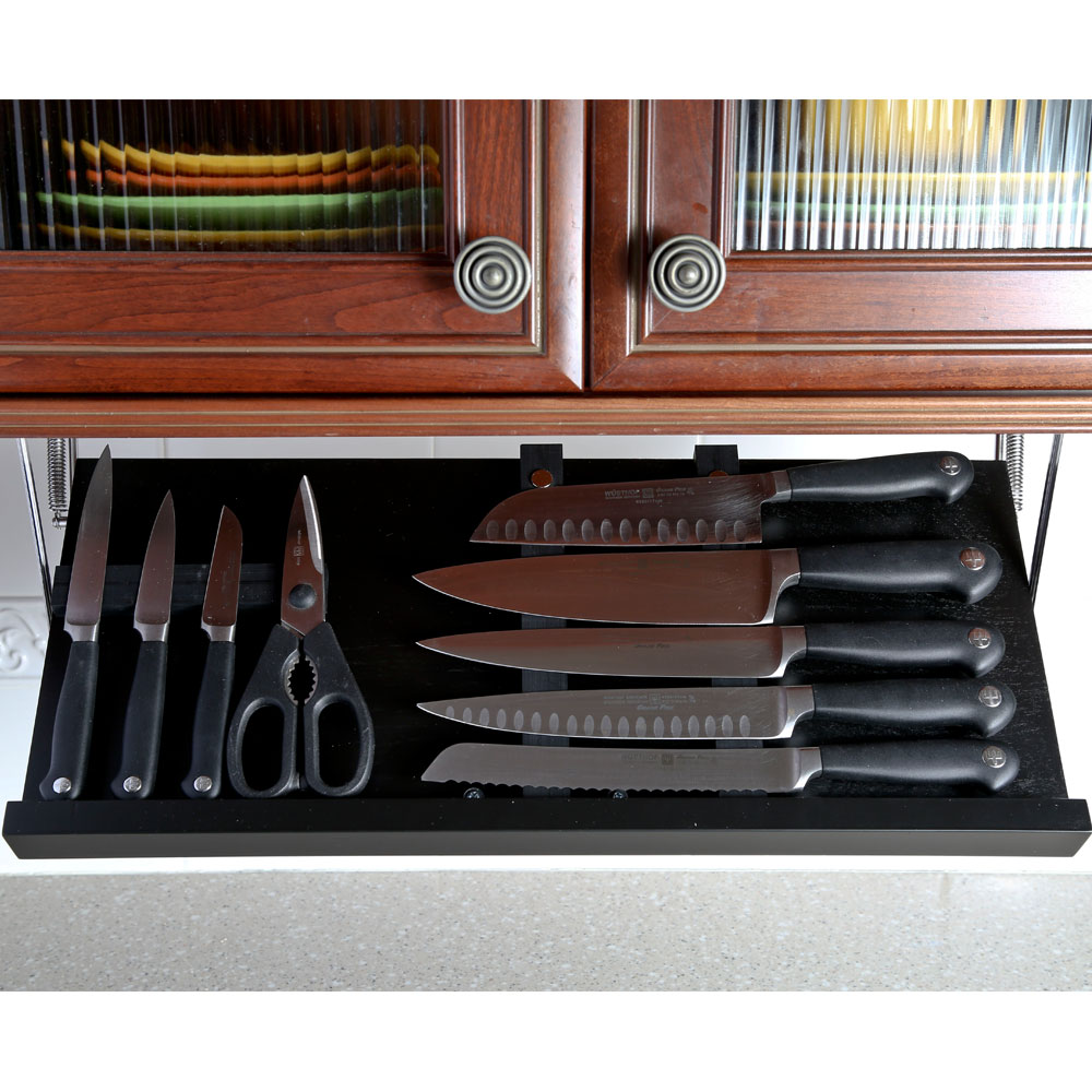 Under Cabinet Drop Down Shelf Hardware: Under Cabinet Knife Block