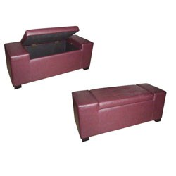 Unique Red Rectangular Storage Bench by O.R.E. Image