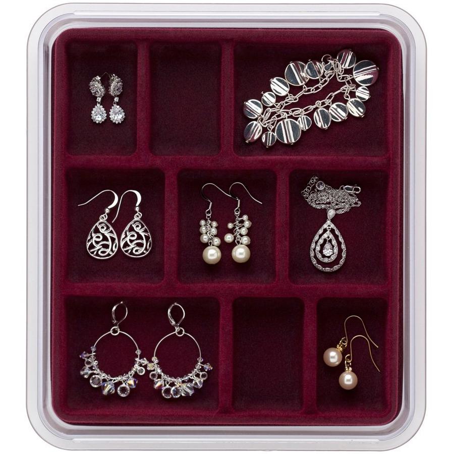 Velvet jewelry tray nine compartment in jewelry trays for Velvet jewelry organizer trays