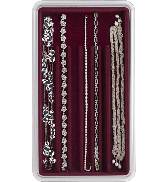 Velvet jewelry tray seven necklace slot in jewelry trays for Velvet jewelry organizer trays