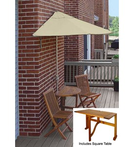 Villa 5-Pc Patio Set with 9 Ft. Olefin Off-the-Wall-Brella by Blue Star Group Image
