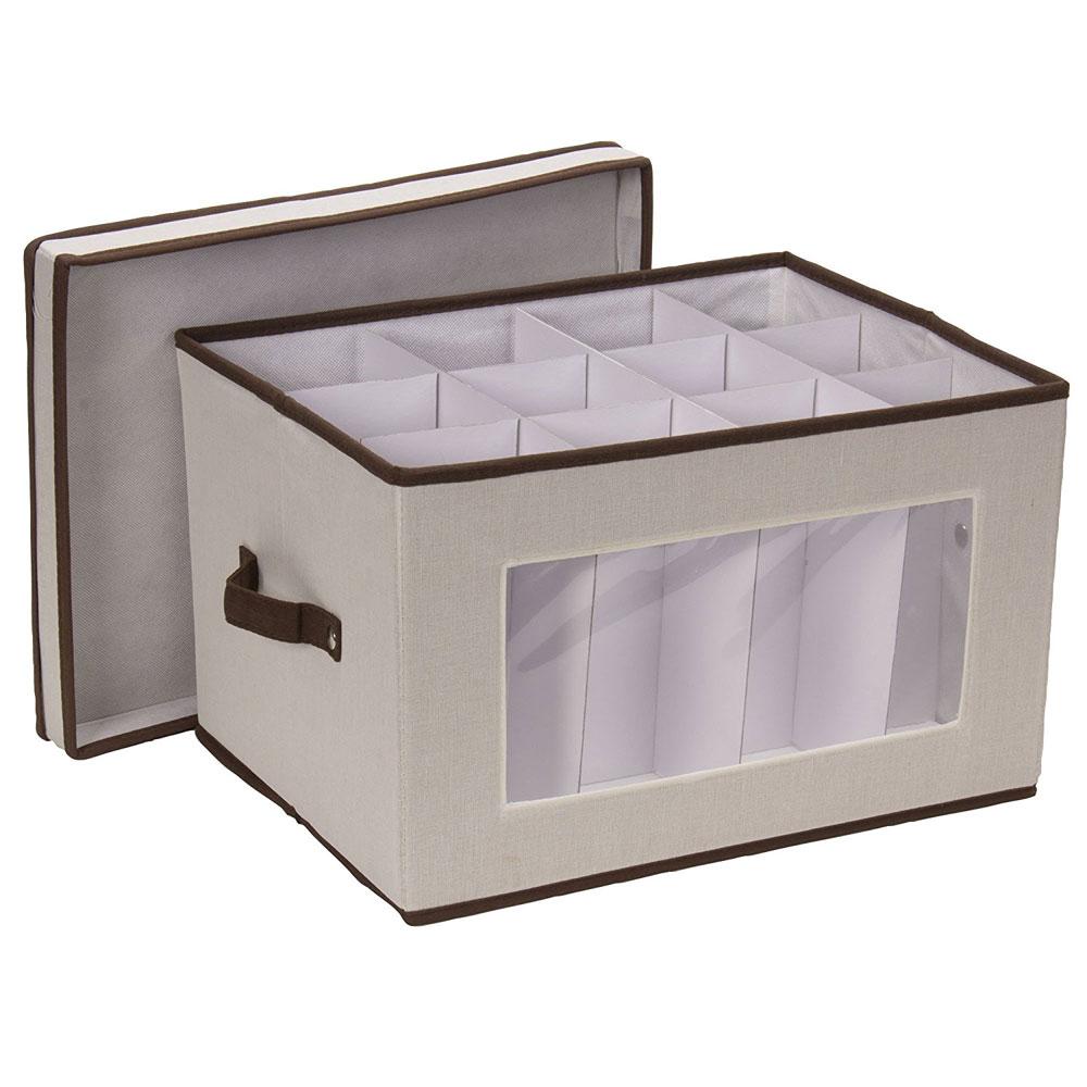 vision canvas wine goblet storage box - Wreath Storage Box
