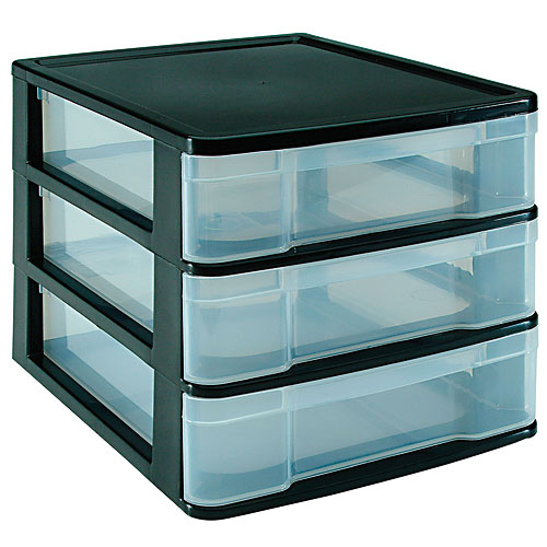 Three Drawer Desktop Storage Chest Black Image