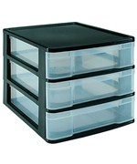 Three-Drawer Desktop Storage Chest - Black