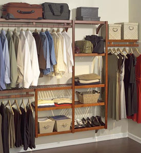 Standard Wood Closet System In Red Mahogany
