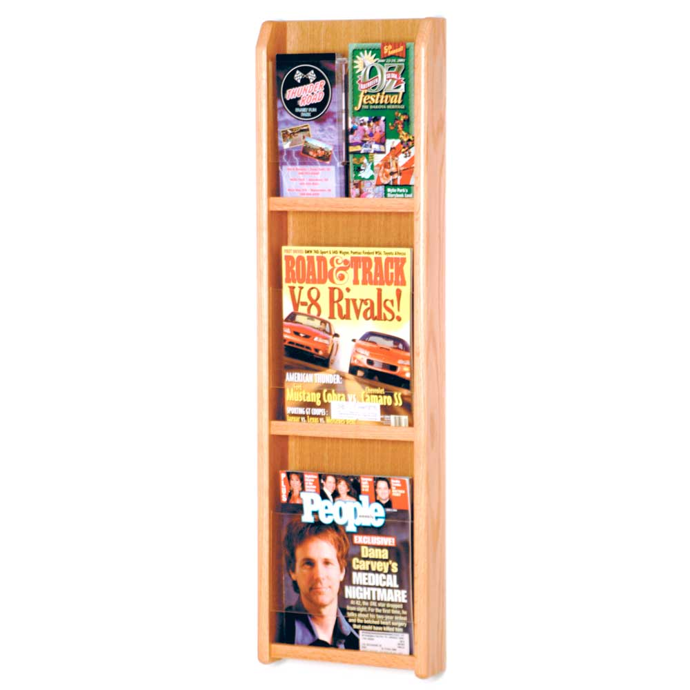 Wall magazine rack 3 pocket in wall magazine racks for Magazine racks for home