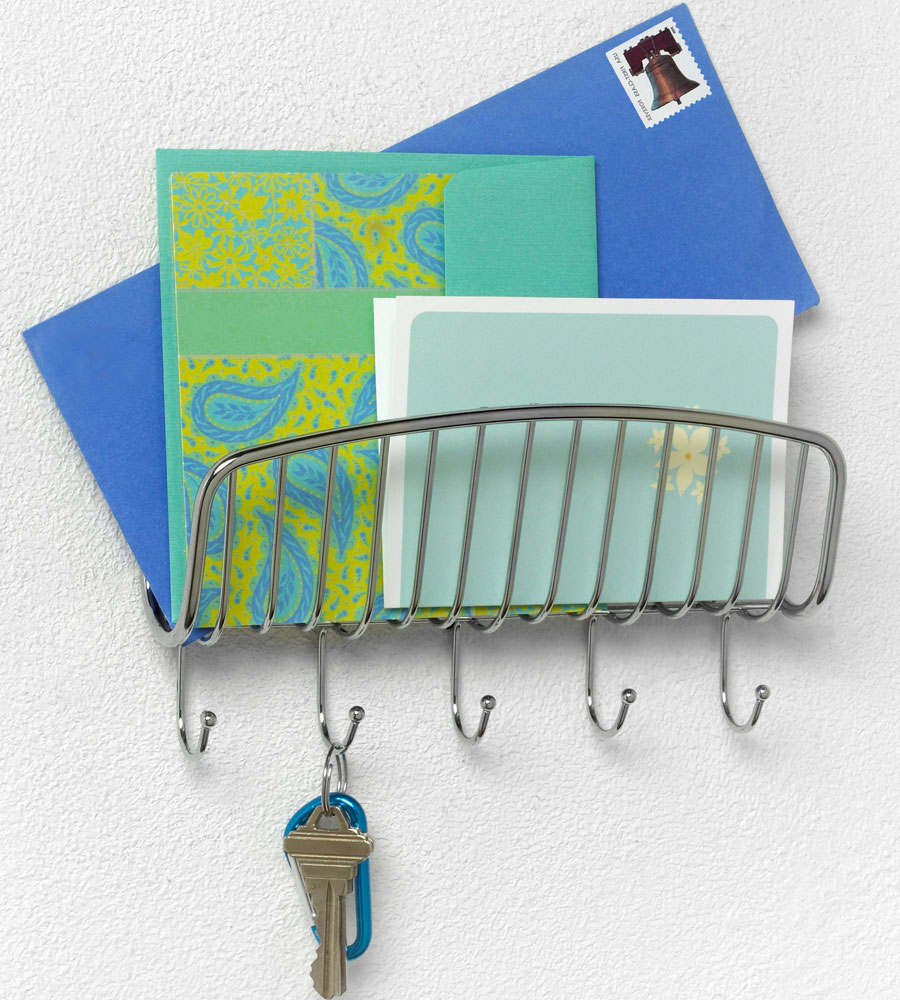 Wall mount mail organizer and key rack in key organizers - Wall mount mail and key rack ...