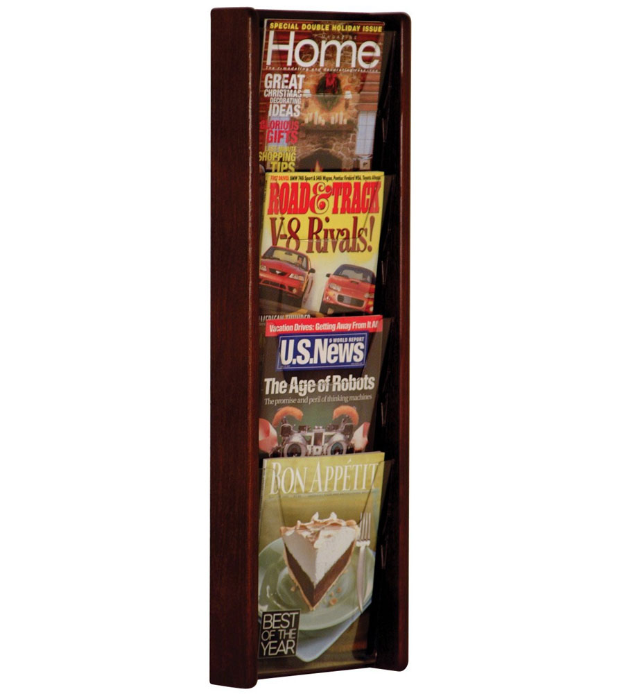 wall mounted magazine rack four pocket price