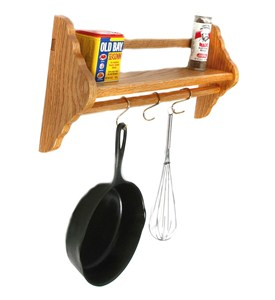 Wall-Mounted Pot Rack with Shelf Image