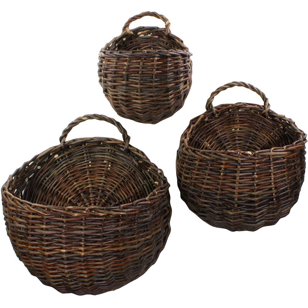 Home underbed storage baskets wicker underbed storage basket - Wall Mounted Storage Baskets Set Of 3 Image