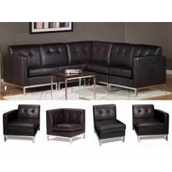 Wall Street Black Modular Sofa Chairs by Office Star Image