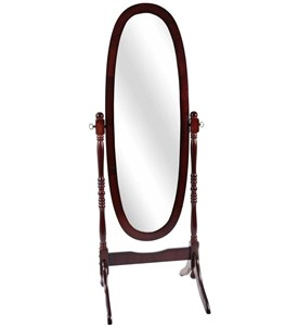 Walnut Oval Cheval Mirror Image