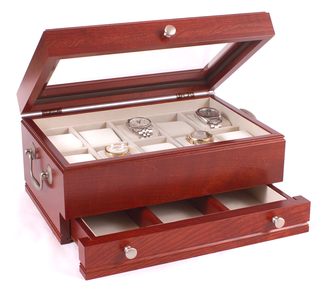 Watch Storage Box with Drawer Cherry Wood in Watch Cases
