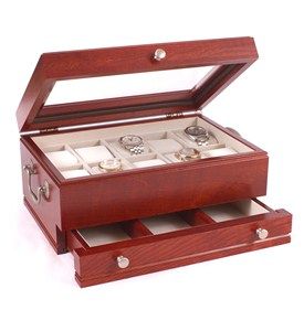 Watch Storage Box with Drawer - Cherry Wood Image