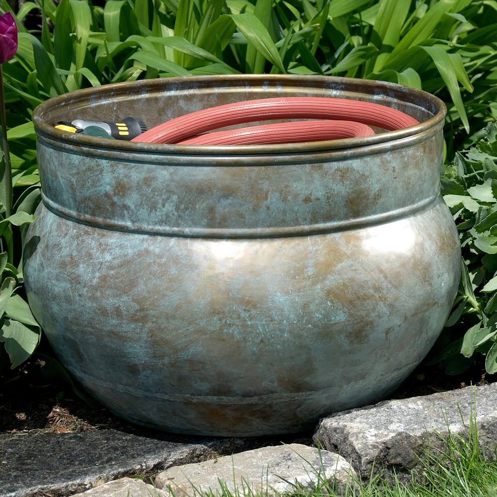 home and garden accents garden hose storage water hose pot blue verde