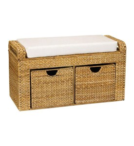 Woven Banana Leaf Storage Bench Image