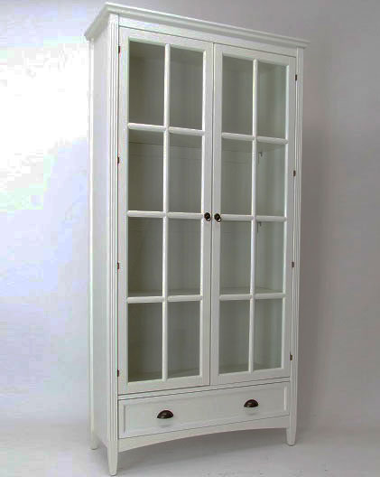 White Bookcase with Glass Doors in Bookcases