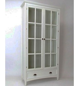 White Bookcase with Glass Doors Image