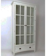 White Bookcase with Glass Doors