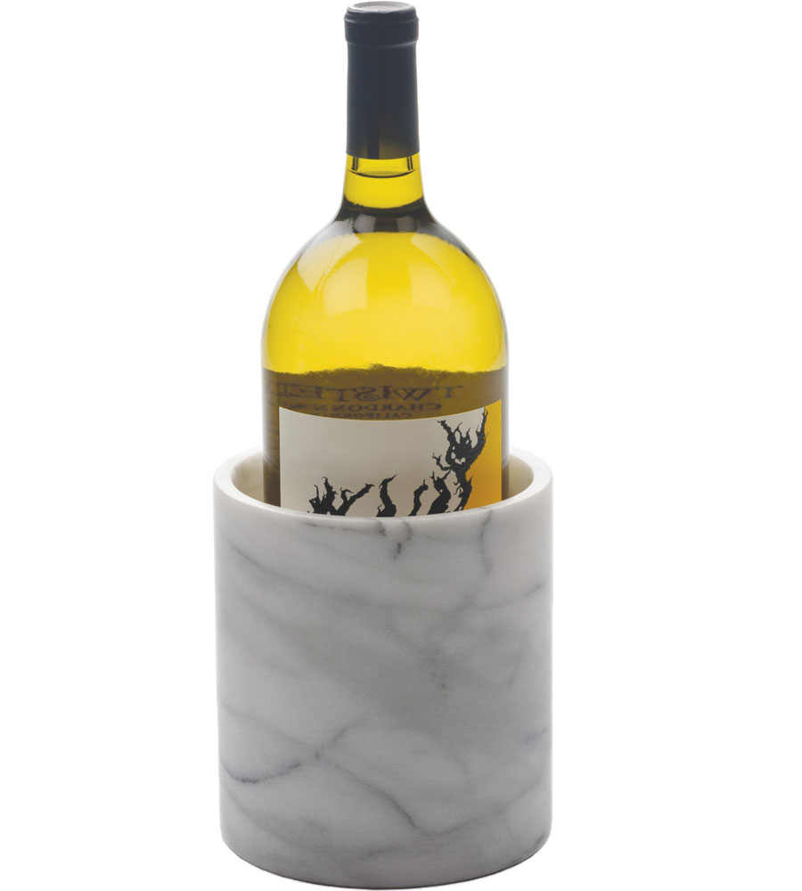 White Marble Wine Chiller In Barware