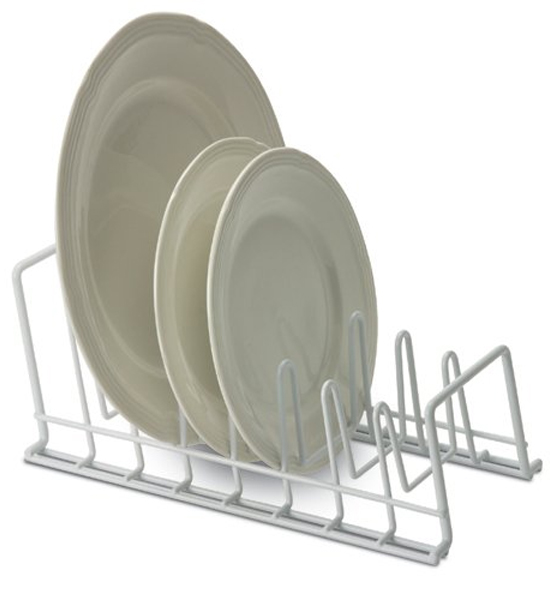 ... White Wire Lid and Plate Holder Bamboo Wood Plate Rack ...  sc 1 st  Organize-It & Plate Holders Plate Racks and Stands | Organize-It