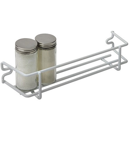 Superb White Wire Single Shelf Mounted Spice Rack Image