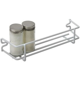 White Wire Single Shelf Mounted Spice Rack Image