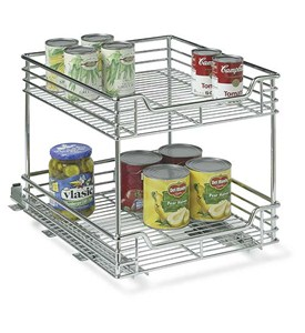 Two-Tier Chrome Sliding Cabinet Organizer Image