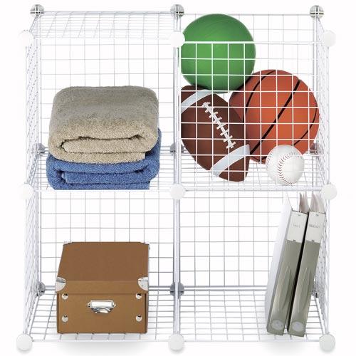 Interlocking Wire Storage Cubes White Set Of 4 In