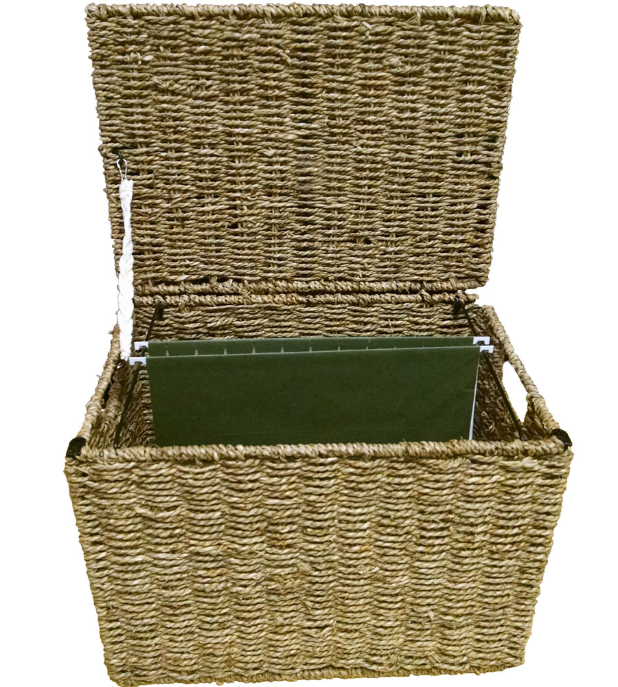 wicker file storage box image - Decorative File Boxes