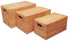 Lidded Wicker Storage Boxes Image