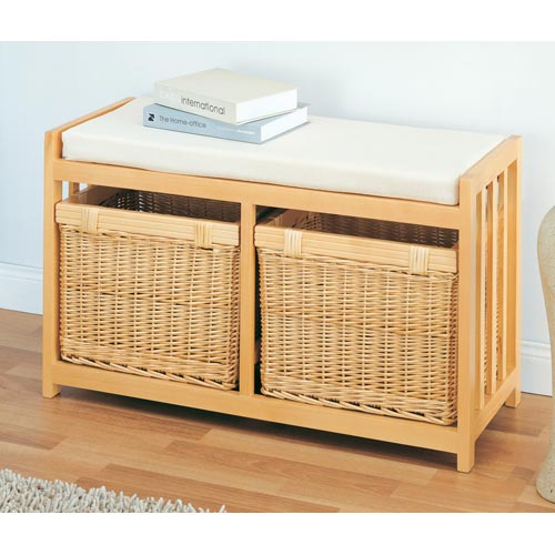 Willow wicker two drawer storage bench in storage benches Rattan storage bench