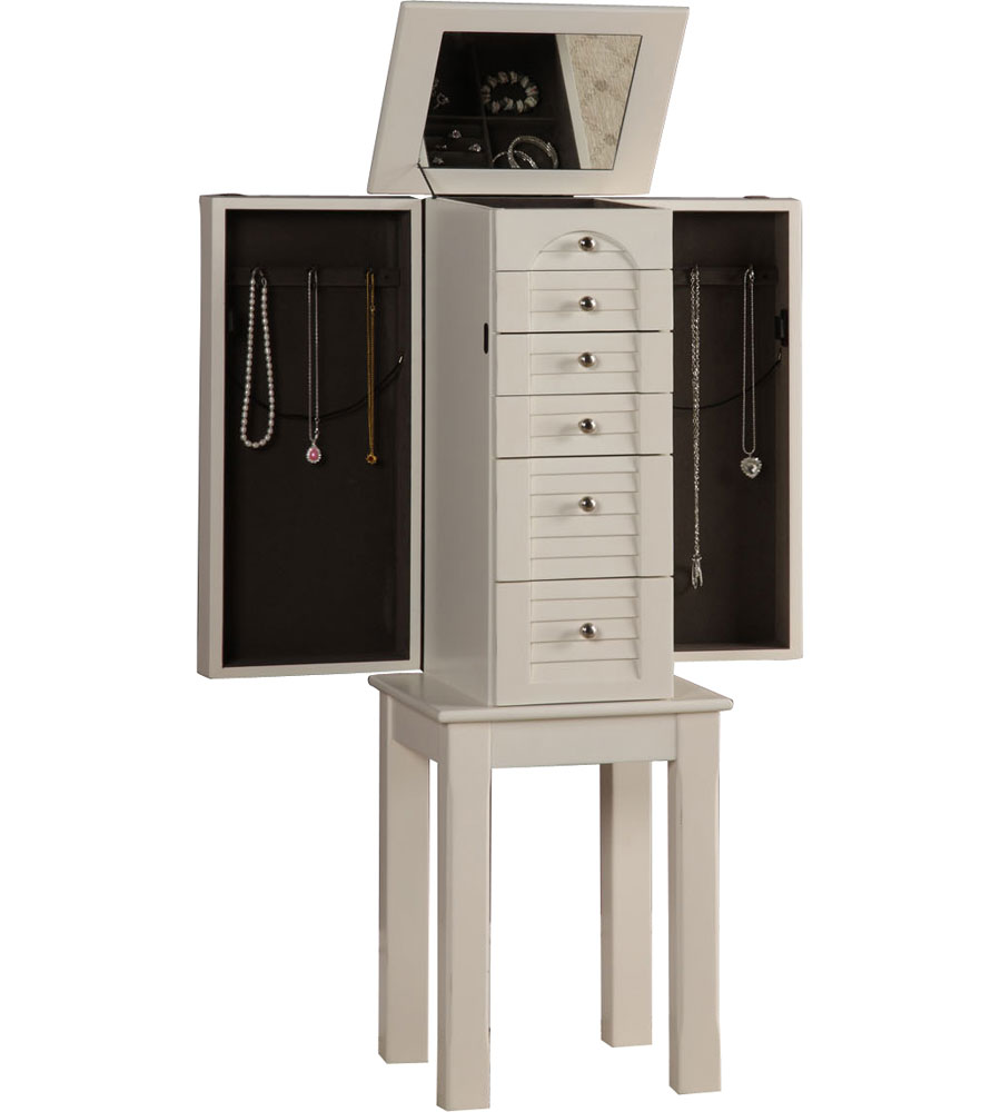 White Jewelry Armoire in Jewelry Armoires