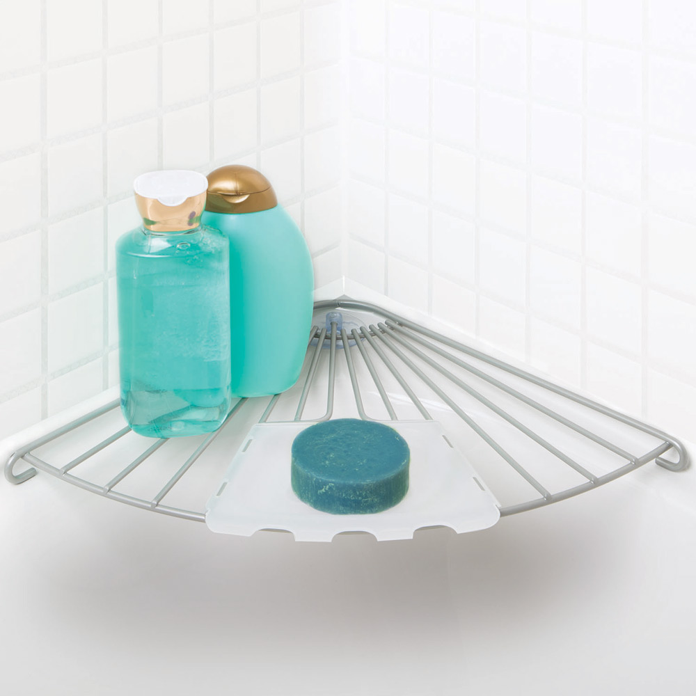 Wire Bathtub Corner Shelf in Suction Organizers