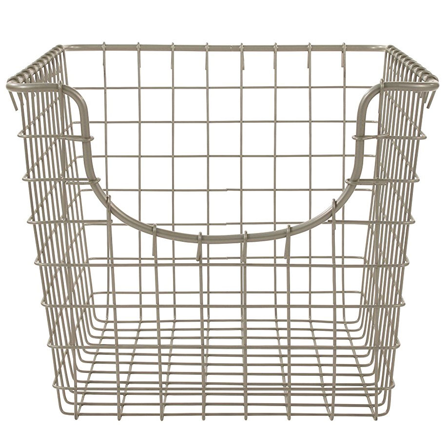 wire storage basket nickel in wire baskets. Black Bedroom Furniture Sets. Home Design Ideas