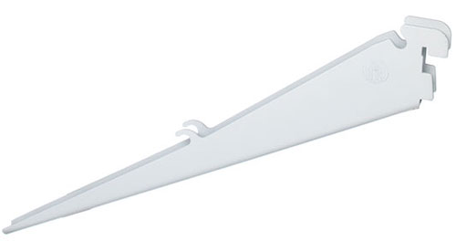 Angled 12 Inch Wire Shelf Bracket - White in FreedomRail Brackets