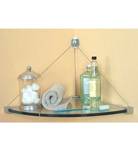 Glass Corner Shelf with Cable Mounting Image