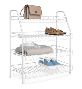 Four-Tier Wire Closet Shelves - White Image