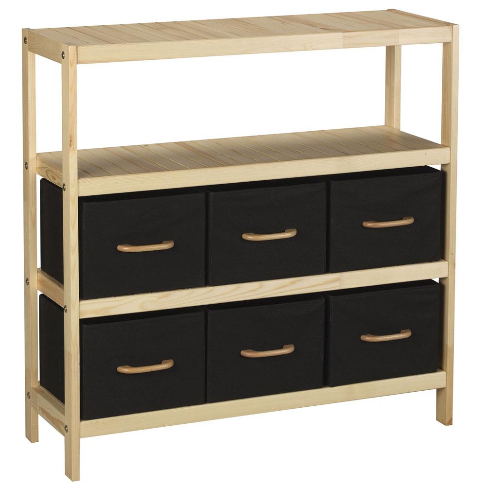Wood 4 Shelf Storage Stand With 6 Bins In Bathroom Shelves