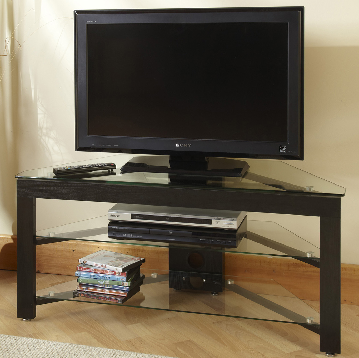Wood And Glass Tv Stand By Convenience Concepts In Tv Stands