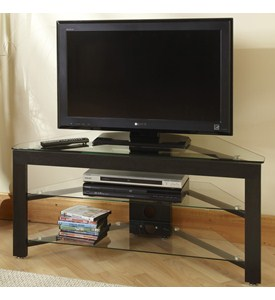 Wood and Glass TV Stand by Convenience Concepts Image