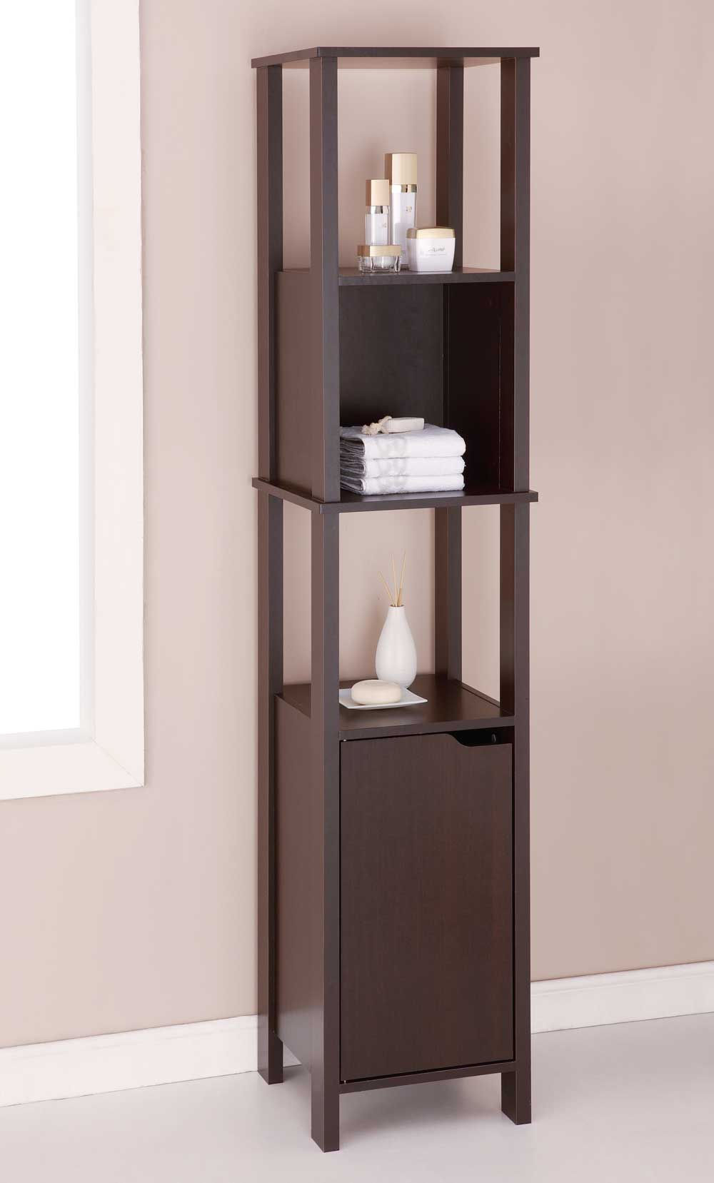 wood cabinet high in bathroom shelves