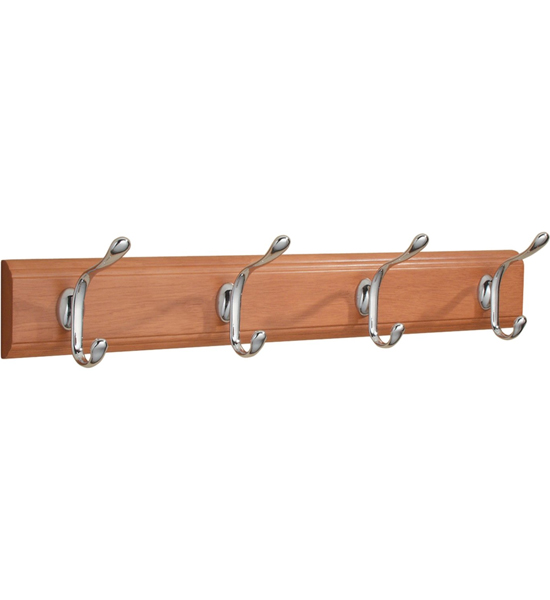 Wood Hat and Coat Hook Rack - Light Cherry Image